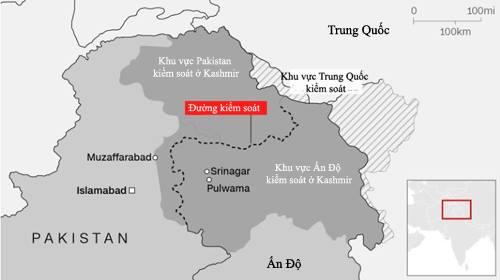 Khu vực các bên kiểm soát ở Kashmir. Đồ họa: CNN.