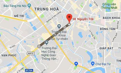 Bản đồ đường Nguyễn Trãi ở Hà Nội.