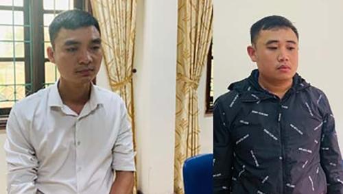 Nghi can Nguyễn Văn Đức (trái) và Dương Văn Trung. Ảnh: T. Thanh.