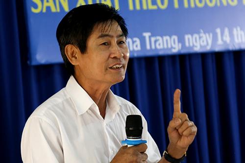 Ông Huỳnh Đỗ Hữu Việt, Chủ tịch Hiệp hội nước mắm Nha Trang tại hội thảo. Ảnh: Xuân Ngọc