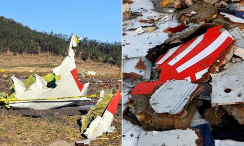 Hiện trường vụ rơi máy bay ở Ethiopia ngày 10/3 (trái) và mảnh vỡ máy bay Indonesia tháng 10/2018. Ảnh: Reuters.