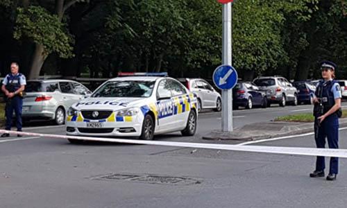 Hiện trường vụ xả súng ở thành phố Christchurch, New Zealand hôm nay. Ảnh: AFP.