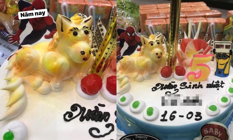Chị gái hoang mang vì ''linh vật'' trên bánh sinh nhật của em trai -