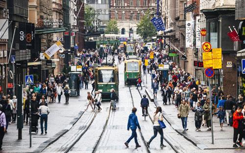 Một góc phố ở thủ đô Helsinki của Phần Lan. Ảnh: Huffington Post.