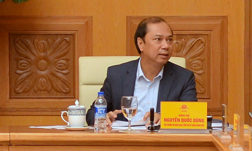 Thứ trưởng Nguyễn Quốc Dũng trong cuộc họp ngày 22/3. Ảnh: Vũ Anh.
