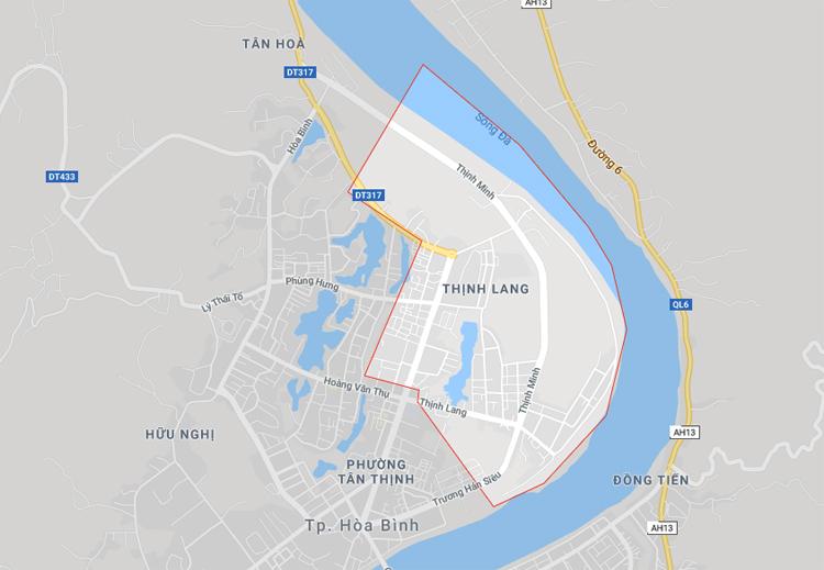 Khu dân cư phường Thịnh Lang được đánh dấu đỏ.