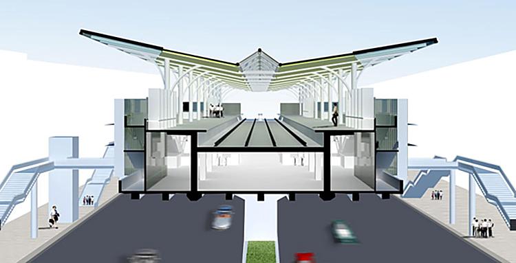 Thiết kế phần mái các nhà ga trên cao tuyến Metro Nhổn-Ga Hà Nội có hình chữ V có độ dốc lớn, được làm bằng vật liệutôn mạ kẽm và tấm ốp nhôm. Ảnh: MRB
