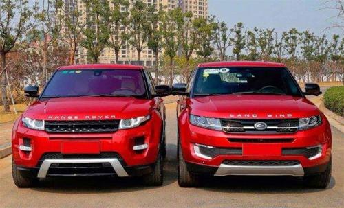 Bản gốc Range Rover Evoque (bên trái) và bản sao Landwind X7.