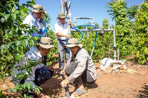 Hệ thống tưới nhỏ giọt tại vườn cà phê của nông dân Trần Văn Nhiên - Quảng Hiệp, Cư MGar, Đắk Lắk.