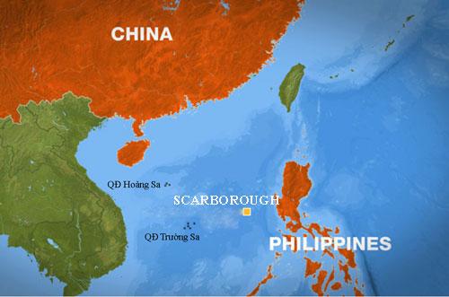 Vị trí bãi cạn Scarborough trên Biển Đông. Đồ họa: UHWS.