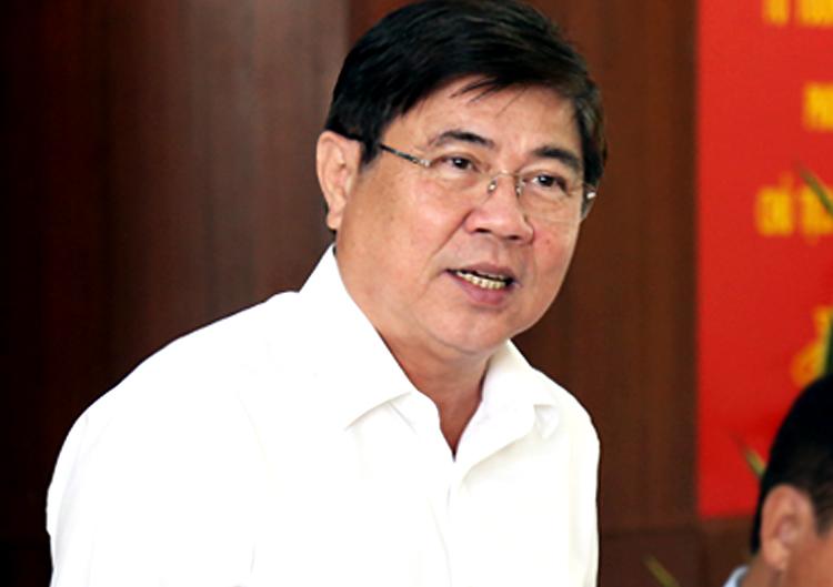 Chủ tịch UBND TP HCM Nguyễn Thành Phong tại buổi làm việc. Ảnh: Hữu Công.