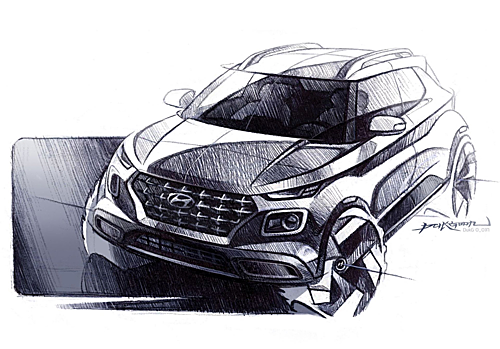 Ảnh phác thảo Venue crossover do Hyundai hé lộ.