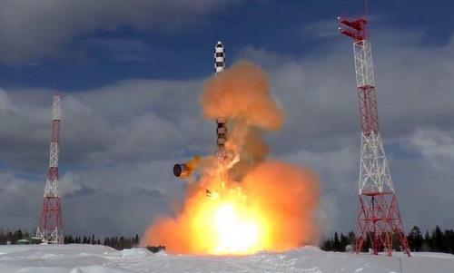 Mô hình tên lửa Sarmat trong đợt thử nghiệm năm 2017. Ảnh: Bộ Quốc phòng Nga.