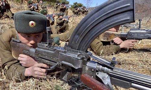 Binh sĩ lục quân Triều Tiên trong một cuộc tập trận. Ảnh: KCNA.