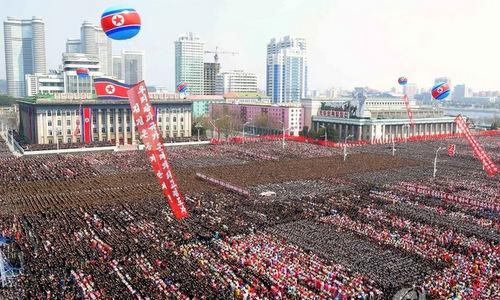 Người dân Triều Tiên diễu hành hôm 14/4. Ảnh: KCNA.