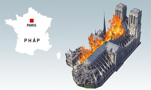Những cấu trúc bị phá hủy tại Nhà thờ Đức Bà Paris (click và hình để xem). Đồ họa: Việt Chung.