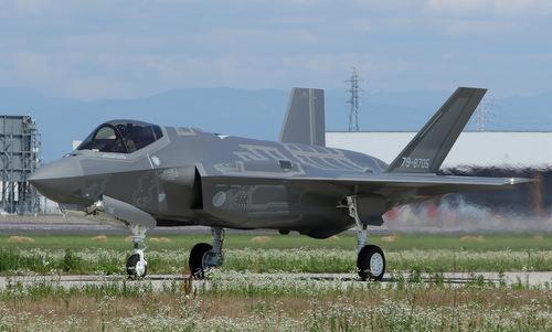 Chiếc F-35A số đuôi 79-8705 sau một chuyến huấn luyện cuối năm 2017. Ảnh: JASDF.