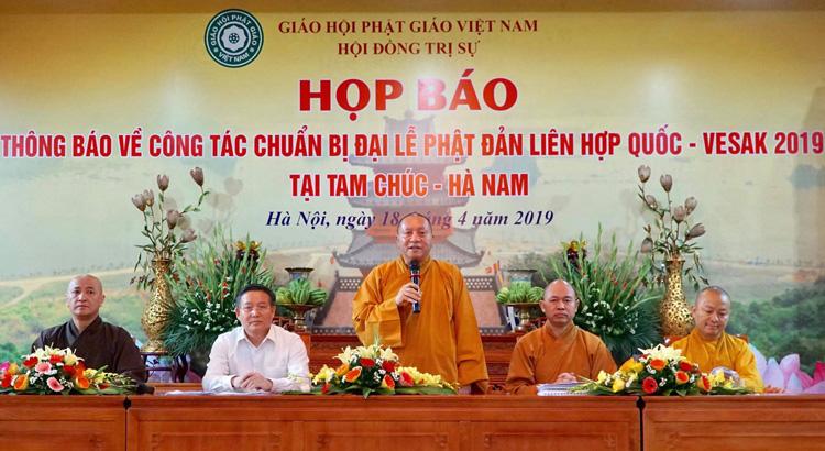 Giáo hội Phật giáo Việt Nam họp báo công bố chương trình Đại lễ Phật đản Liên Hợp Quốc 2019. Ảnh: Ngọc Thành.