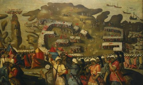 Tranh vẽ mô tả cảnh quân Ottoman đổ bộ lên đảo Malta. Ảnh: War History.