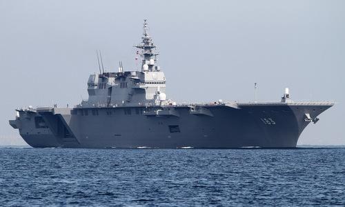 Khu trục hạm trực thăng JS Izumo trong một chuyến ra biển năm 2018. Ảnh: Naval Today.