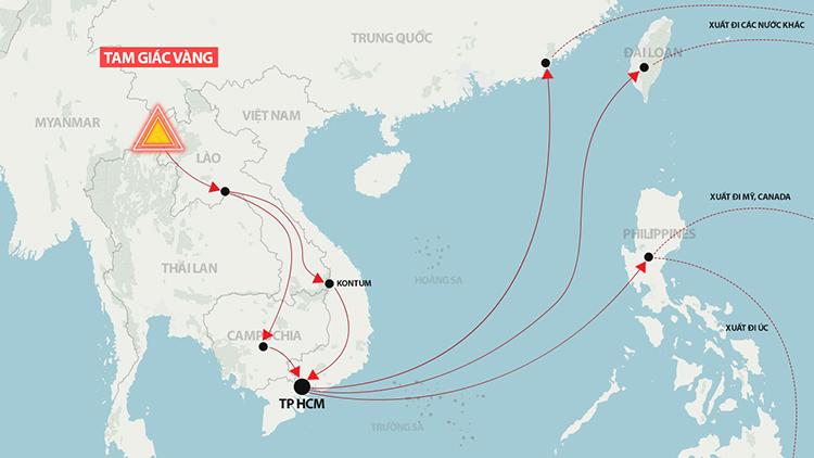 Cung đường ma tuý từ Tam Giác Vàng (Myanmar) vào Việt Nam rồi xuất đi các nước. Đồ hoạ: Hoàng Khánh.