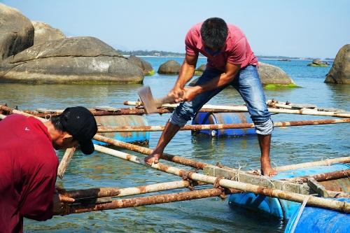 Người dân dùng búa tháo dỡ lồng bè nuôi cá ở vùng biển Dung Quất. Ảnh: Phạm Linh.