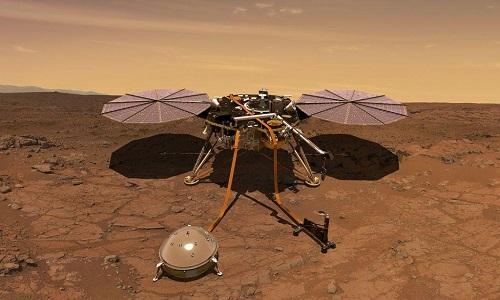 Trạm InSight đặt máy đo địa chấn trên bề mặt sao Hỏa. Ảnh: NASA.