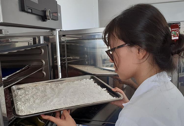 Tinh bột carbonxymethyl từ hạt mít sau sấy sẵn sàng để sản xuất tá dược. Ảnh: NVCC.