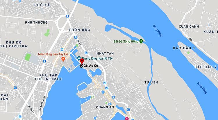 Vị trí du thuyền bị cháy ở góc Hồ Tây cạnh phố Nhật Chiêu.