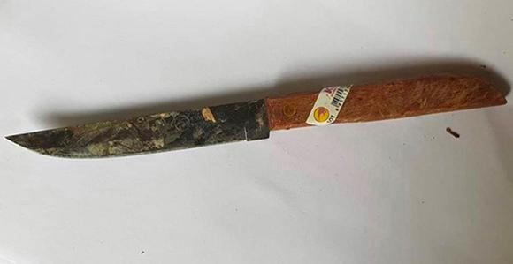 Con dao gây án vứt trên ruộng cách hiện trường không xa. Ảnh: Lam Sơn.
