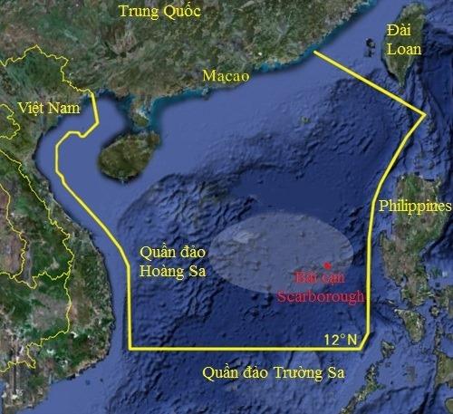 Khu vực Trung Quốc đơn phương cấm đánh bắt cá ở Biển Đông. Đồ họa: Google.