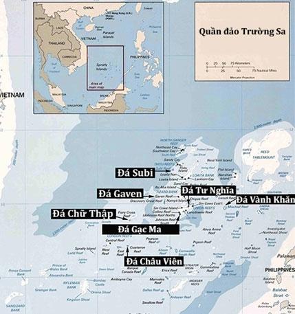 Vị trí các bãi đá bị Trung Quốc bồi đắp trái phép thành đảo nhân tạo ở Trường Sa. Đồ họa: Thư viện Quốc hội Mỹ.