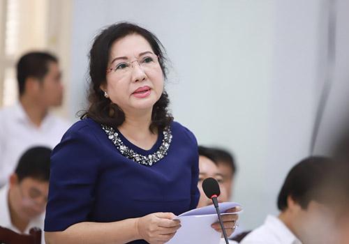 Bà Loan nêu ý kiến tại hội thảo. Ảnh: Nguyễn Đông.