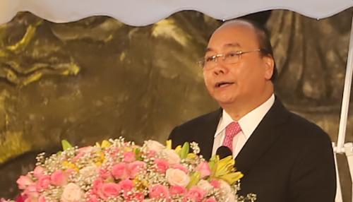 Thủ tướng Nguyễn Xuân Phúc phát biểu tại buổi lễ. Ảnh: Lê Hoàng.