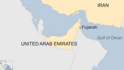 Vị trí cảng Fujairah của UAE. Đồ họa: BBC.