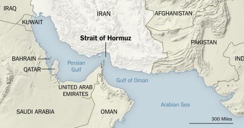 Vị trí eo biển Hormuz. Đồ họa: NY Times.