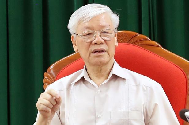 Tổng bí thư, Chủ tịch nướcNguyễn Phú Trọng tại cuộc họp của lãnh đạo chủ chốt Đảng, Nhà nước ngày 14/5. Ảnh: TTX