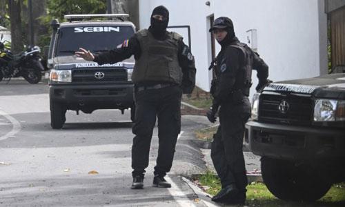 An ninh Venezuela trước tòa nhà quốc hội ở Caracas hôm 14/5. Ảnh: AFP.