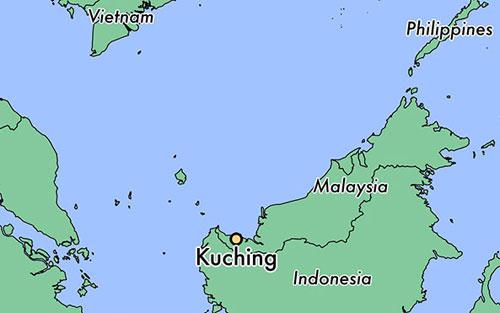 Vị trí thành phố Kuching của Malaysia. Đồ họa: Worldatlas.