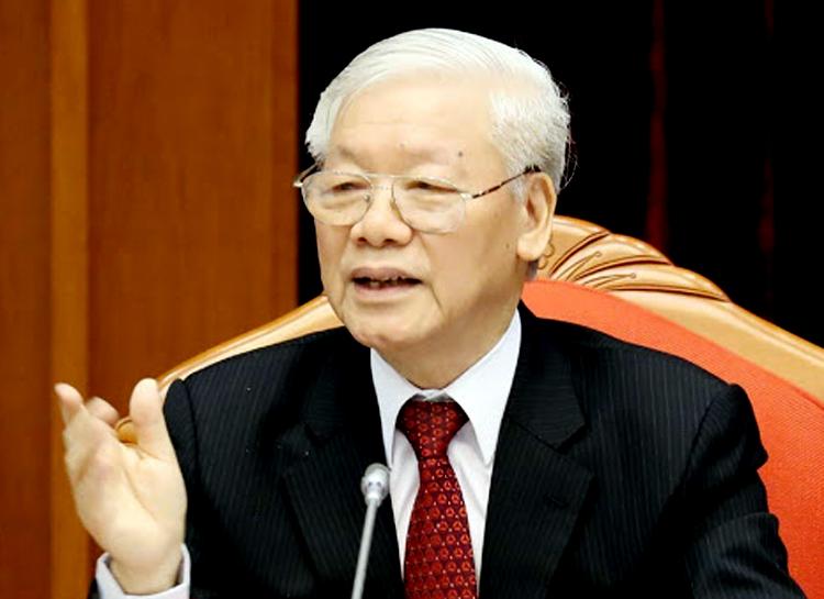 Tổng bí thư, Chủ tịch nước Nguyễn Phú Trọng phát biểu tại hội nghị Trung ương 10 (khoá XII). Ảnh: TTX