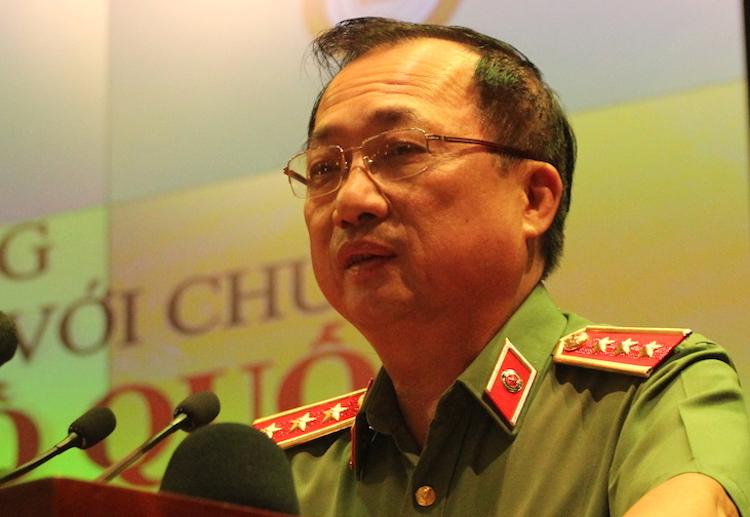 Thượng tướng Nguyễn Văn Thành, Thứ trưởng Công an phát biểu tại lễ phát động cuộc thi Vì an ninh Tổ quốc và bình yên cuộc sống chiều 17/5. Ảnh: HT
