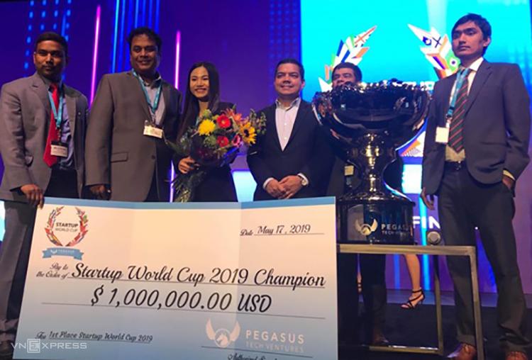 Abivin chiến thắng giải thưởng 1 triệuUSD tại Startup World Cup 2019. Ảnh: Techfest Vietnam.