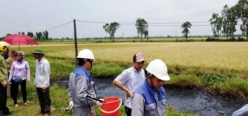 Sau khi tiếp nhận thông tin từ báo chí, huyện Vĩnh Bảo đã cử các phòng ban chuyên môn kiểm tra, bảo vệ mương nước bị đổ chất thải nguy hại, báo cáo thành phố tìm phương án xử lý. Ảnh: Giang Chinh