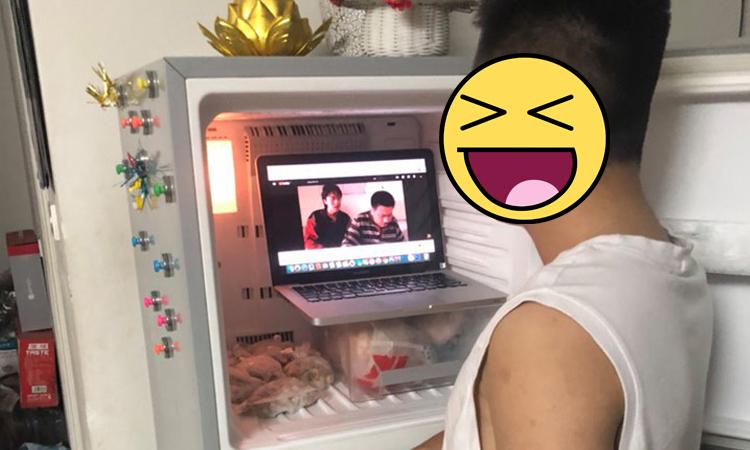 Chồng bỏ laptop vào tủ lạnh xem phim vì bị vợ cấm mở điều hòa -
