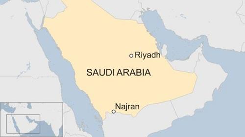 Vị trí thành phố  Najran của Arab Saudi. Đồ họa: BBC.