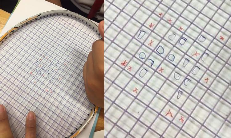 Học sinh ''IQ vô cực'' chơi cờ ca-rô khi không có giấy kẻ ô ly -
