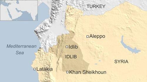 Vị trí tỉnh Idlib của Syria. Đồ họa: BBC.