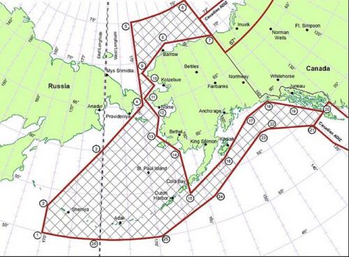ADIZ Alaska (gạch chéo) là không phận quốc tế, nơi máy bay Nga và Mỹ thường chạm mặt. Đồ họa: Wikipedia.