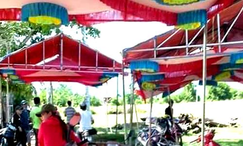 Hiện trường tổ chức lễ cưới khiến 6 người bị điện giật ở Khánh Hòa. Ảnh: Hà Vũ.