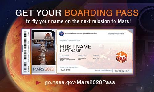 Vé lên tàu vũ trụ trong chuyến bay tới sao Hỏa. Ảnh: NASA.